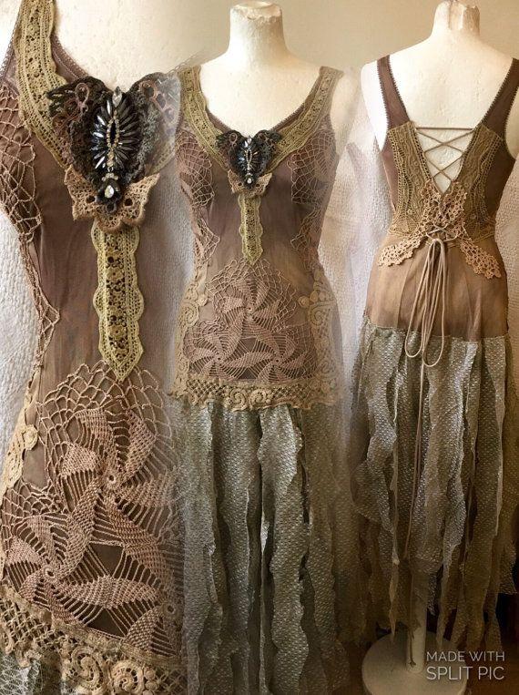 Woodland fairy wedding dress , forest wedding dress,nature wedding, army colors , woodland clothing , handmade , party dress , tattered boho