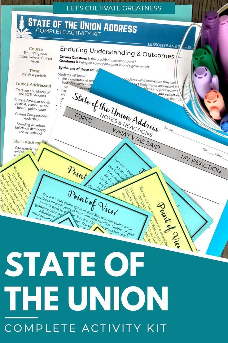 State Of The Union Activity Kit In 2020 State Of The Union Civics Lessons Activity Kits