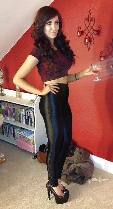 mature shiny pants