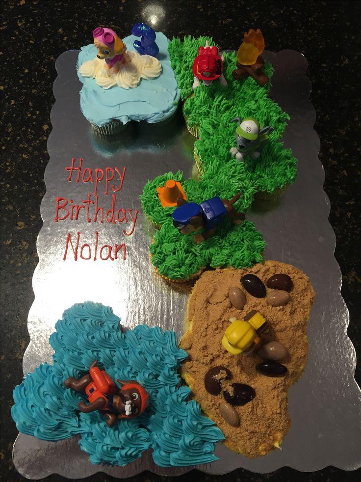 Nolan's Paw Patrol cupcake cake