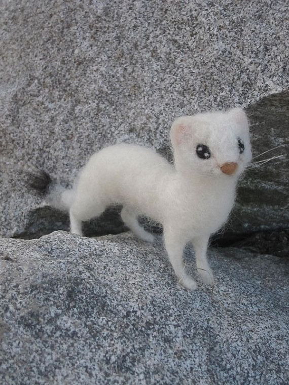 Needle felted animal ermine weasel stoat by Ainigmati on ...
