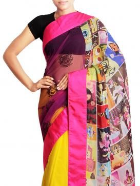 This Designer  Saree carries a classy elegant embroidery which includes floral , multi-coloured prints adorn the pallu of the saree and the fall is in yellow colour.