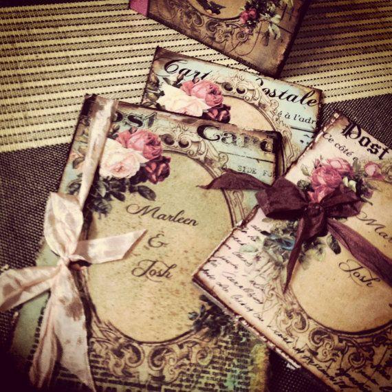 Vintage Book Style Wedding Invitations By Shabbyscrap