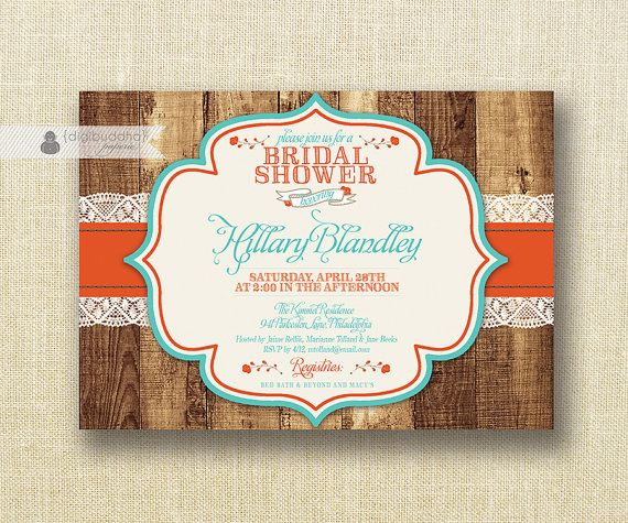 Poppy Red & Turquoise Bridal Shower Invitation
