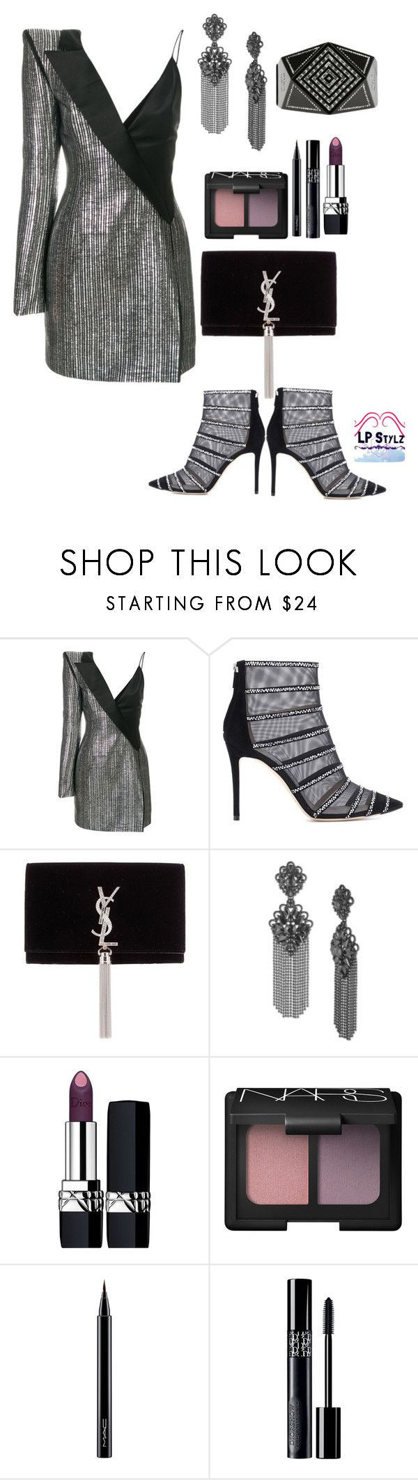 """A Night on The Town"" by lpstylz30 ❤ liked on Polyvore featuring Thierry Mugler, Jimmy Choo, Yves Saint Laurent, Marchesa, Christian Dior, NARS Cosmetics, MAC Cosmetics and Chanel"