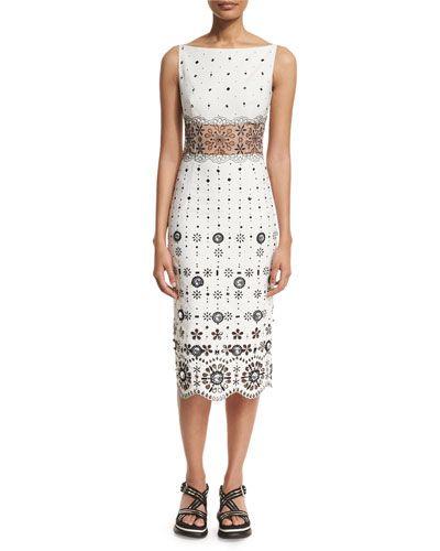 W08TT Marc Jacobs Eyelet-Embroidered Gabardine Sheath Dress, White
