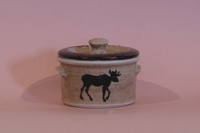 Moose Themed Pottery: 1 Pint Crock for Butter or Sugar