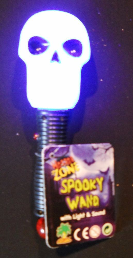 Halloween Flashlight Spooky Wand Light Up Scary Sounds Black White New #Unbranded