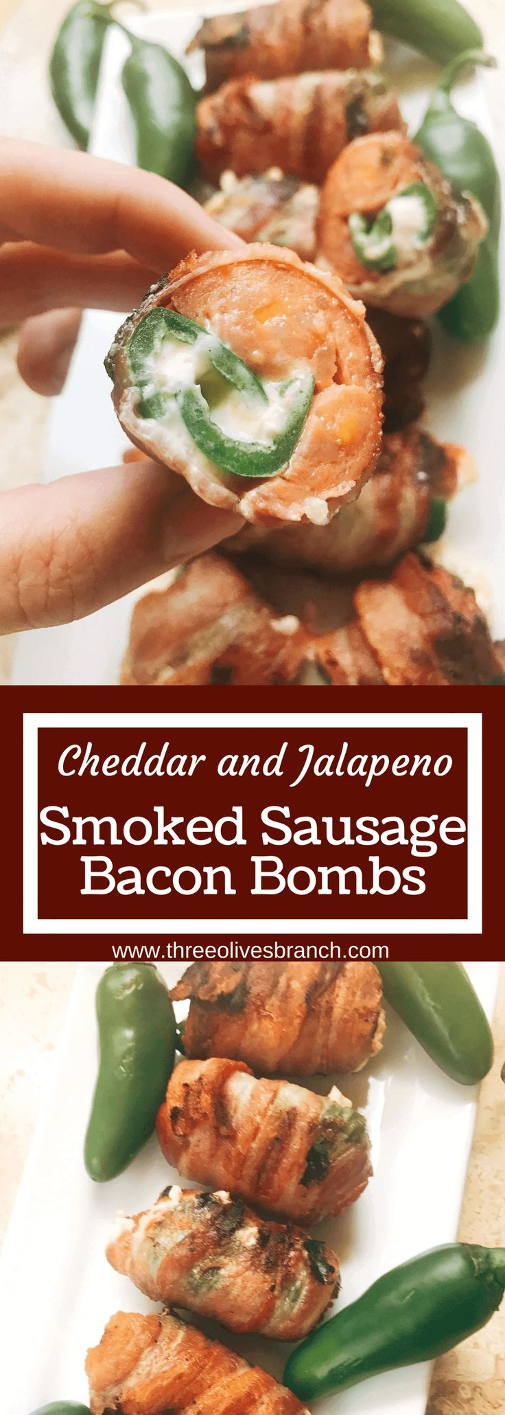 Grill up some of these smoky, cheesy treats for your next summer party. Eckrich Cheddar and Jalapeno Smoked Sausage is stuffed with a jalapeno pepper (which has been filled with cheddar and cream cheese), then rolled in bacon and grilled until crispy. They make such a fun appetizer or dinner for the pork lovers. A fun twist on a jalapeno popper and full of flavor. A great way to kick of football Sunday or game day. Cheddar Jalapeno Smoked Sausage Bacon Bombs #ad #GiveLifeMoreFlavor @Eckrich…