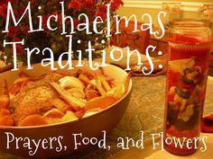 Michaelmas!    http://carrotsformichaelmas.com/2012/09/19/michaelmas-traditions-prayers-food-and-flowers/