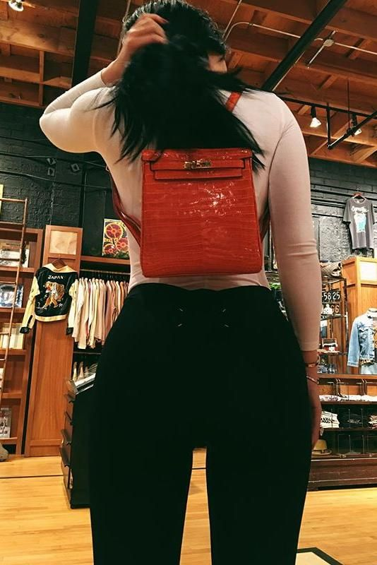 Kylie Jenner wearing Hermes Crocodile Kelly Ado Backpack