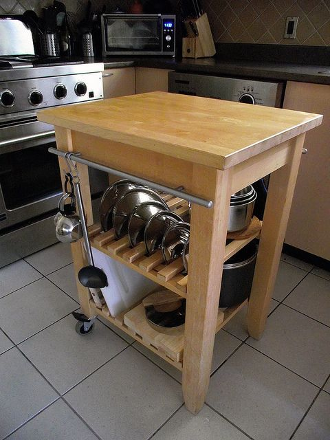 Ikea bekvam cart cookware storage with clever use of cabinet handle as rail for hanging items - Ikea portaspezie bekvam ...