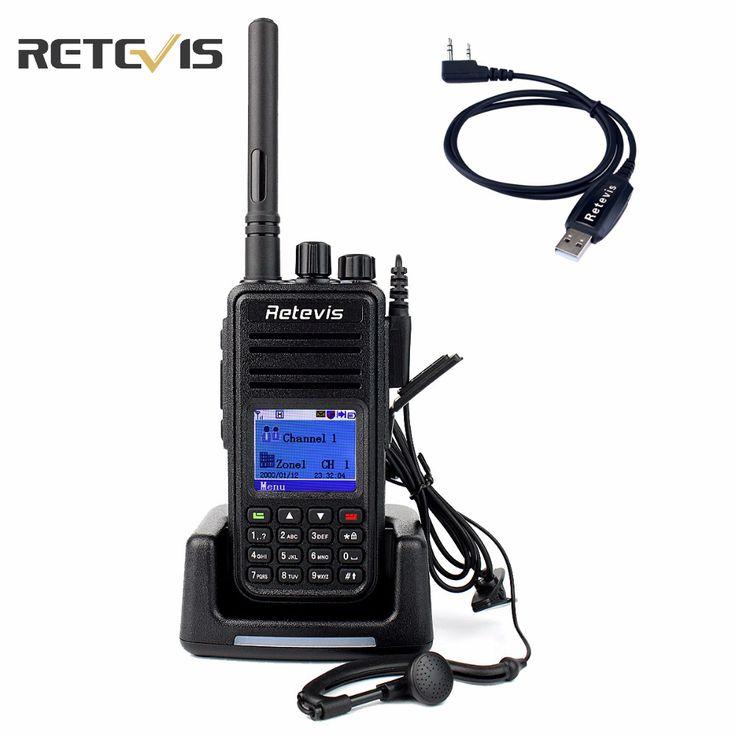Dmrラジオデジタルトランシーバーretevis rt3 uhf 400-480 mhz 5ワット1000chアマチュア無線hfトランシーバ2アンテナ+プログラムケーブルA9110A