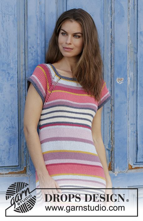 Dress with stripes, raglan and vent in the sides, worked top down. Size: S - XXXL Piece is knitted in DROPS Paris.
