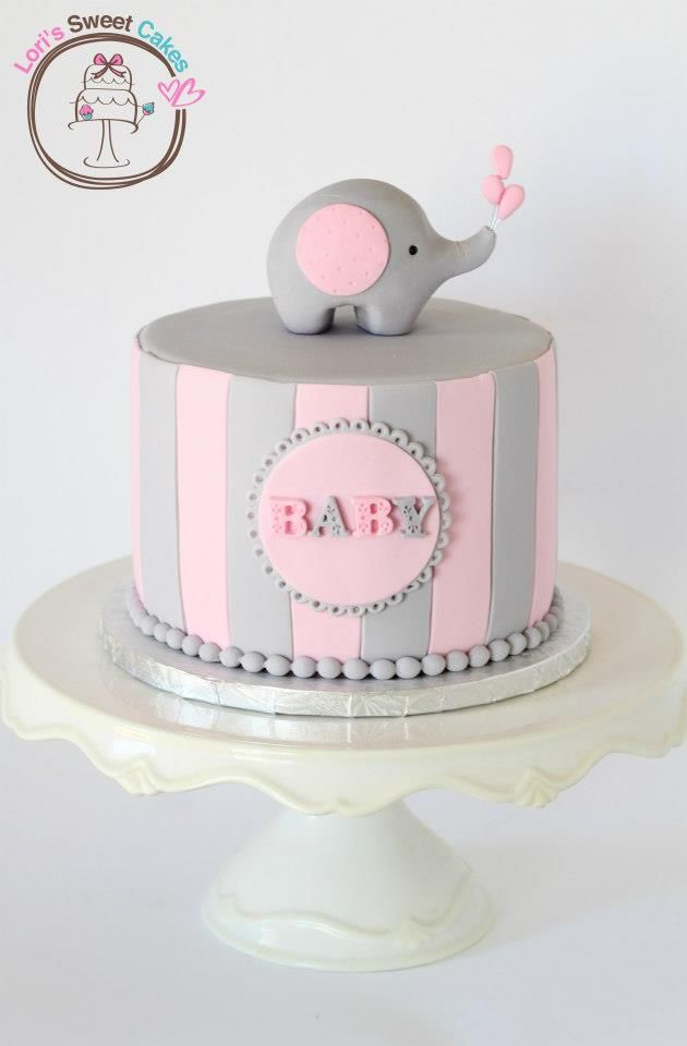 Adorable pink and gray elephant baby shower cake by Lori's Sweet Cakes