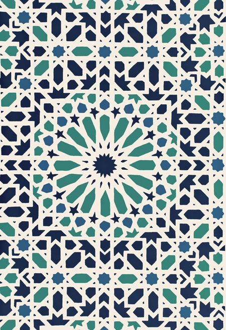 Schumacher has captured the absolute beauty of the tile in a gorgeous collection of wallpaper and borders. The above image is of a couple of the products mixed together in the same colorway - and the effect is beautiful, don't you think?    My favorite product is the Nasrid Palace Mosaic wallpaper.