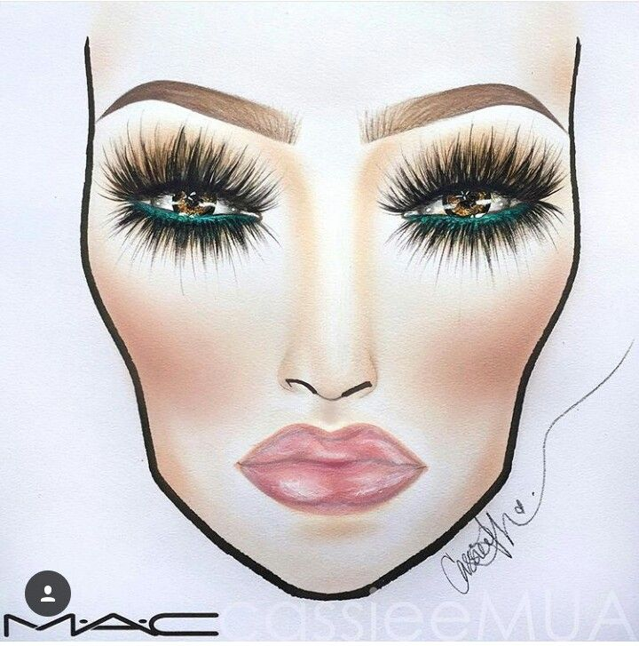 Face chart. Makeup. Green eye liner