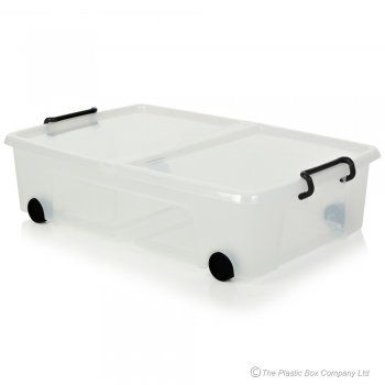 Under Bed Plastic Storage Boxes with Lids and Wheels Large 35 Litre