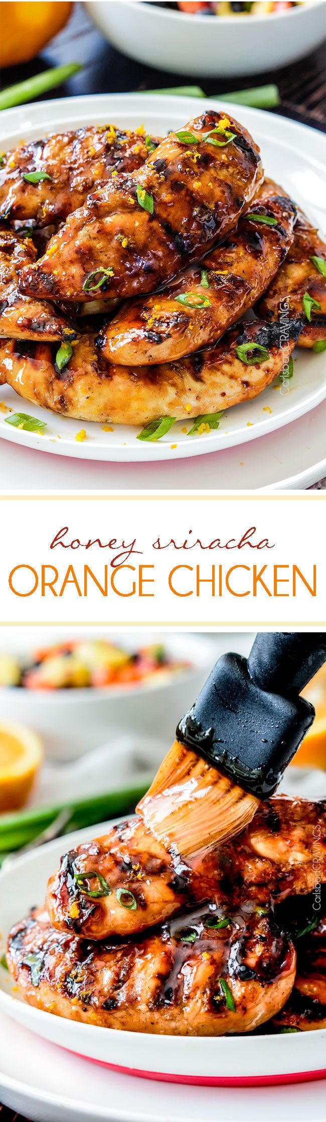 Tender, juicy Grilled honey Sriracha Orange Chicken marinated and smothered in the most tantalizing sweet heat orange sauce you can't even imagine! #orangechicken #sriracha #grilledchicken #honey #orange