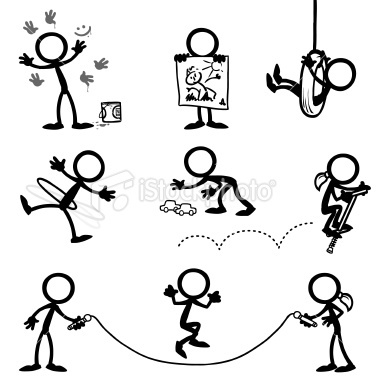stickfigure kids playing | Stock Illustration | iStock