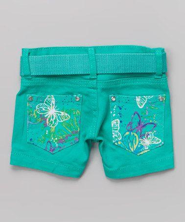 Look at this #zulilyfind! Green Butterfly Shorts & Belt - Girls #zulilyfinds