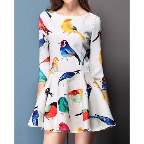 Occident Style Scoop Neck Colorful Birds Print Color Block 3/4 Sleeve Women's DressPrint Dresses | RoseGal.com