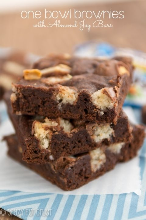 One Bowl Almond Joy Brownies by crazyforcrust.com