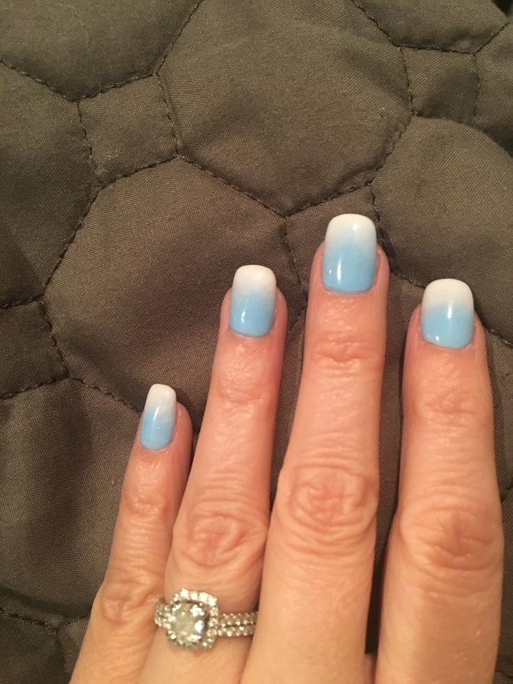 Sky blue ombre powder dip nails | Mani's and Pedi's in ...