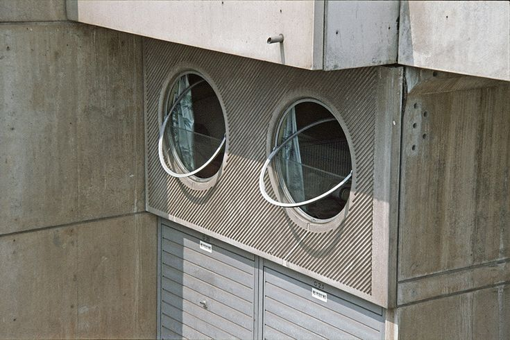 Southgate, Runcorn New Town, 1973 | Round windows of a maisonette on the Southgate Estate, Runcorn New Town. | Designed by James Stirling and photographed in 1973.