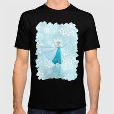 Frozen Elsa Mens Fitted Tee MEDIUM Black
