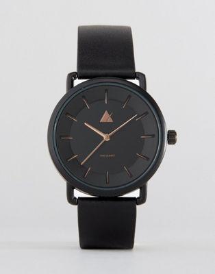 Черные часы с отделкой цвета розового золота ASOS