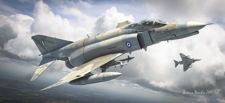 Hellenic air force f-4 phantom, Antonis Karidis on ArtStation at https://www.artstation.com/artwork/9BavN