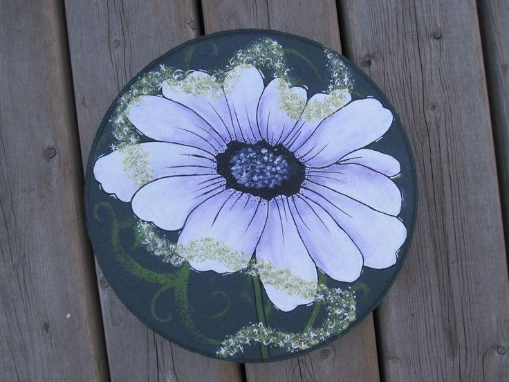 Light Purple Daisy Hand Painted On A Diameter Garden Stepping Stone.