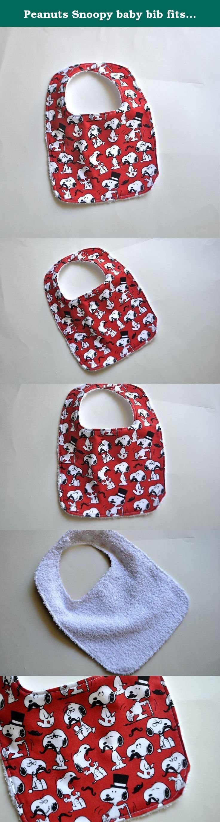 Peanuts Snoopy baby bib fits sizes 0-12 months. Say hello to Snoopy! This Snoopy Baby Bib is perfect for babies 0-12 months! These adorable baby bibs are perfect for a new baby shower. Snoopy and Peanuts fans will love these for their new little baby's bibs. This classic Snoopy bib is popular with little Peanuts fans and their parents. This listing is for a Peanuts baby bib, in Snoopy with a mustache print. All Charlie Brown baby bibs are backed with white terry cloth (yes, like a towel)…