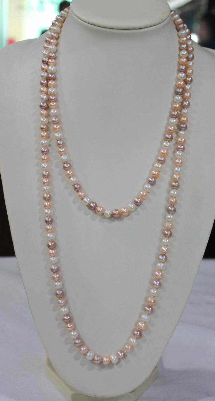Long pearl necklace, 60 inches 7-8mm, Freshwater Pearl Necklace, pink purple lavender freshwater Pearl necklace by jewelryTang on Etsy https://www.etsy.com/listing/224905990/long-pearl-necklace-60-inches-7-8mm