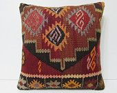 red cushion cover 20x20 large pillow kilim large kelim pillow large cushion cover 20x20 pillow 20x20 pillow case red kilim pillow sham 18147