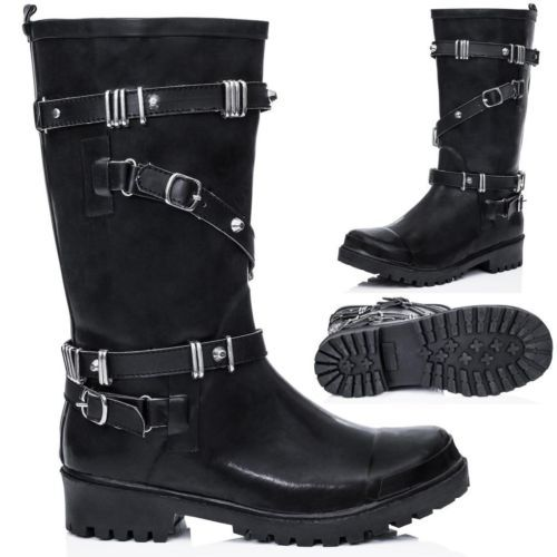 New Womens Festival Wellies Cleated Sole Buckle Calf Biker Rain Boots US 5 10 | eBay