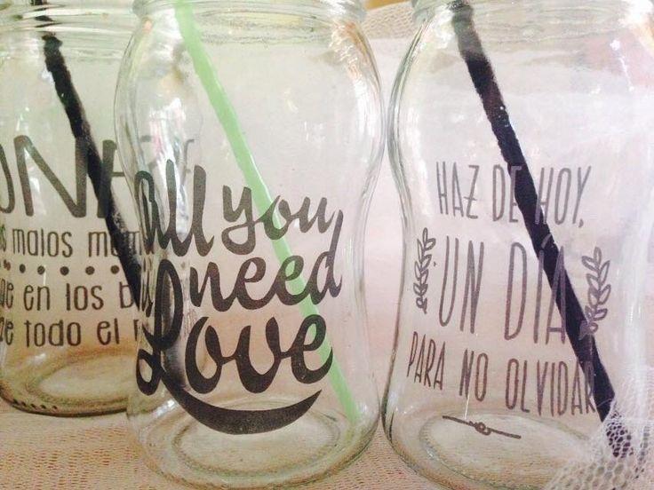 vasos decorados con frases - Buscar con Google