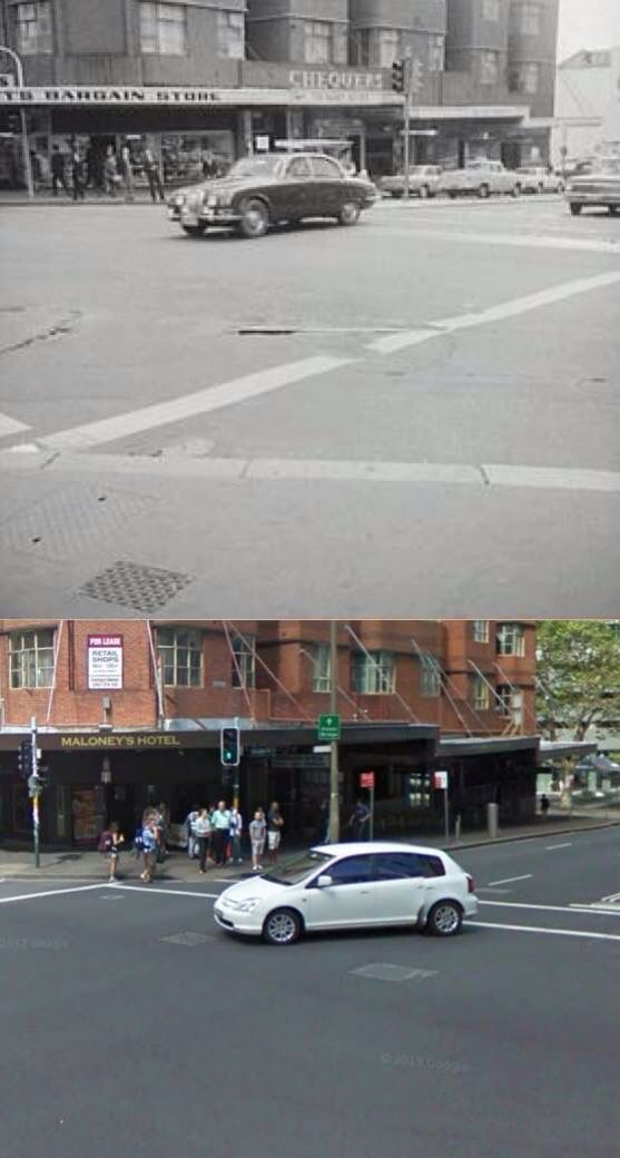 The south west corner of Goulburn and Pitt Streets, Sydney in 1965 and 2009. Chequers Night Club, one of Australia's top cabaret venues, operated here from the mid 50's till the early 70's.     [1965: Sydney City Archives - 2009: Google Street View/by Phil Harvey]