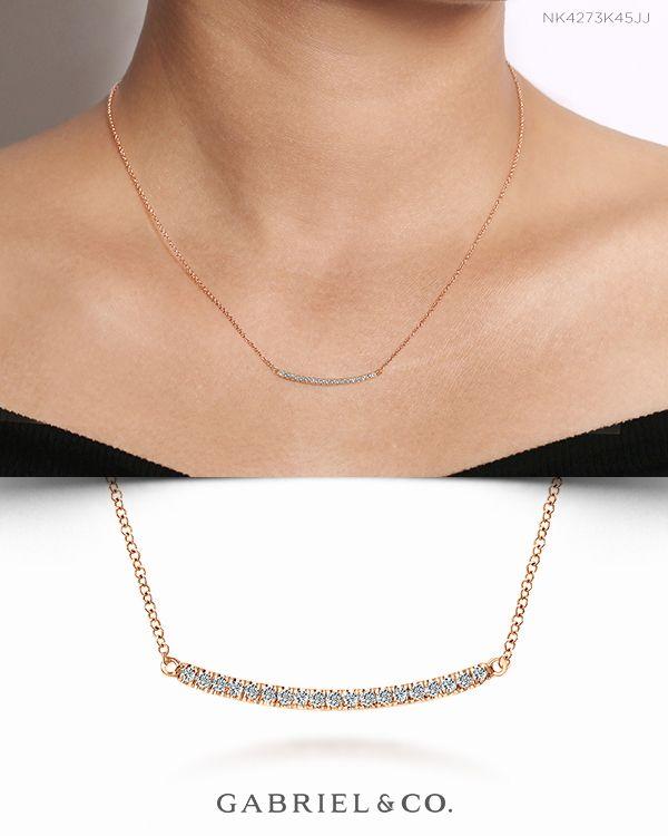 18 14k Rose Gold Diamond Pave Curved Bar Necklace Diamond Bar Necklace Curved Bar Necklace Bar Necklace