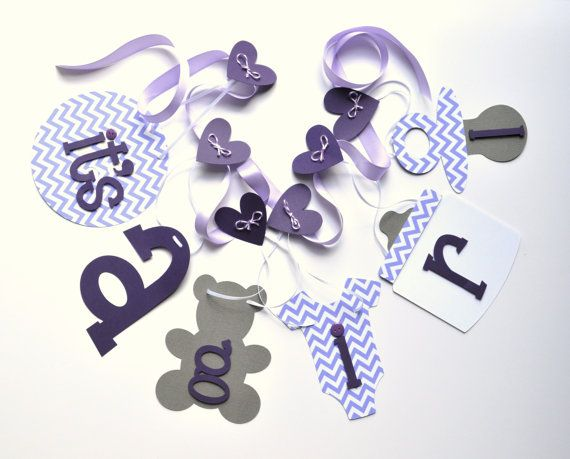 Purple chevron and grey baby shower decorations by ParkersPrints