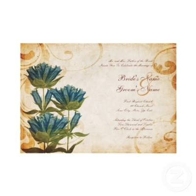 Blue Flowers Vintage Wedding Invitations  This beautiful  invitation features an old vintage paper texture look with images of turquoise blue colored poppy wild flowers on the side. Great for any bride looking for a classic vintage look. A perfect invitation for country wedding, Spring wedding, summer wedding, Fall or Autumn weddings, outdoor and backyard weddings, or use for bridal shower or wedding shower or even an engagement party invitation.