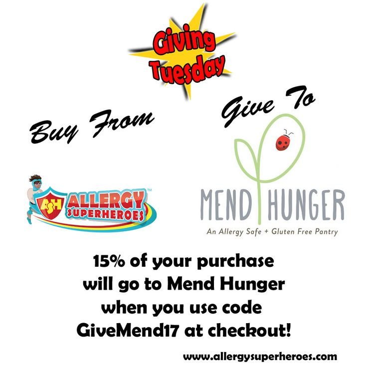 15% of all sales today (11/28/17) go to Mend Hunger for #GivingTuesday when using the code GiveMend17. They provide no-cost safe for #foodallergies and #GlutenFree foods to local food pantries.