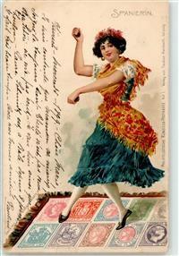 1899 Briefmarkenabbildung Spanien Frau Tanz Kastagnetten