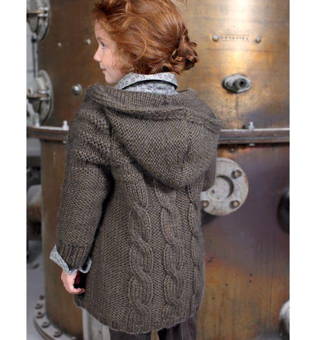 manteau capuche torsade dos