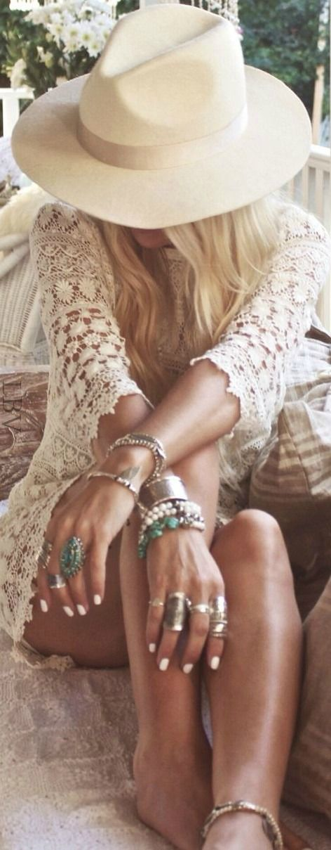 Boho Chic white lace dress, white hat, silver jewellery. Summer time: )