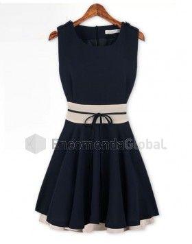 Vestido azul marinho e creme - Laço