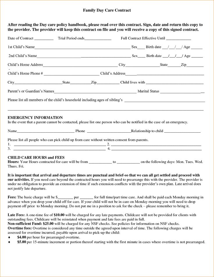 Safety Contract Templates. Cool Free Sample Daycare Forms, Home