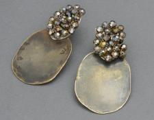 QUOIL Gallery, New Zealand, contemporary jewellery - Caroline Thomas - Rising Sun earrings - swaroski crystal, oxidised brass