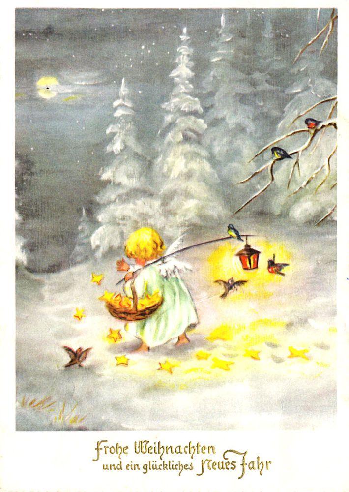 AK - Weihnachten - KAGER ? - Kleiner Engel mit Sternenkörbchen, 1960